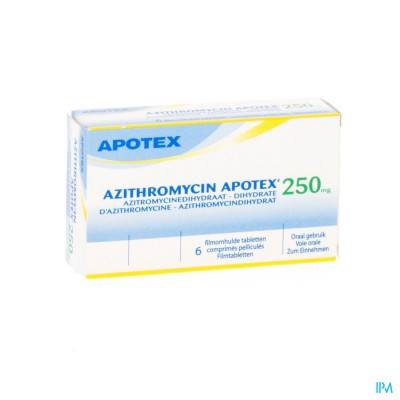 AZITHROMYCIN 250 MG APOTEX TABL OMHULDE 6X250 MG