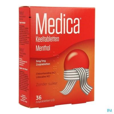 MEDICA KEELTABLETTEN MENTHOL 36 UD