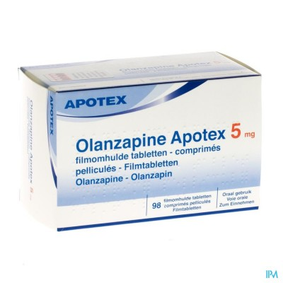 OLANZAPINE APOTEX 5 MG COMP PELL 98X 5MG