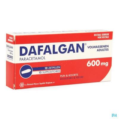 DAFALGAN 600 MG SUPPOS 12