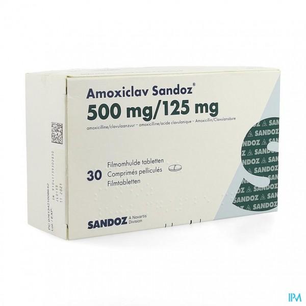 AMOXICLAV SANDOZ 500MG/125 MG COMP 30
