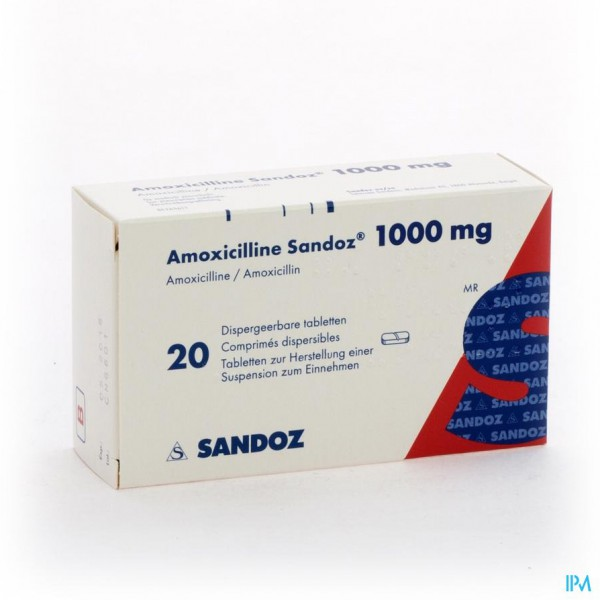AMOXICILLINE SANDOZ 1000 MG TABL DISP 20