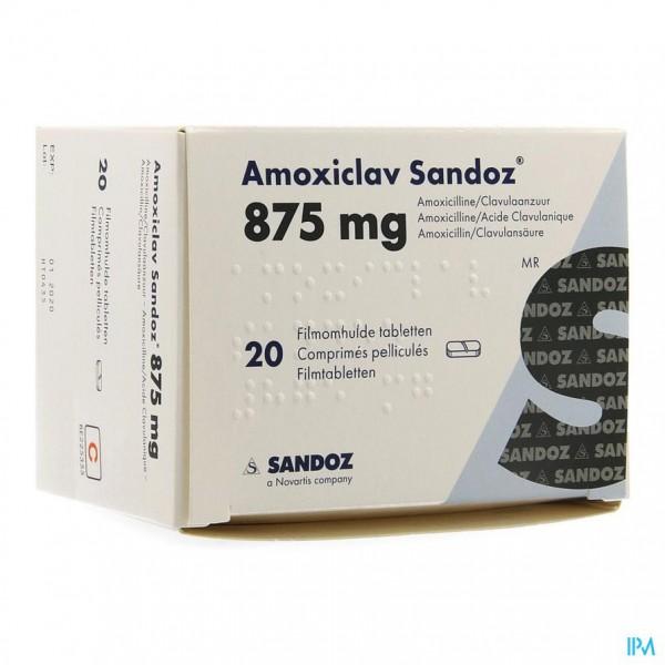 AMOXICLAV SANDOZ 875 MG/125 MG COMP 20