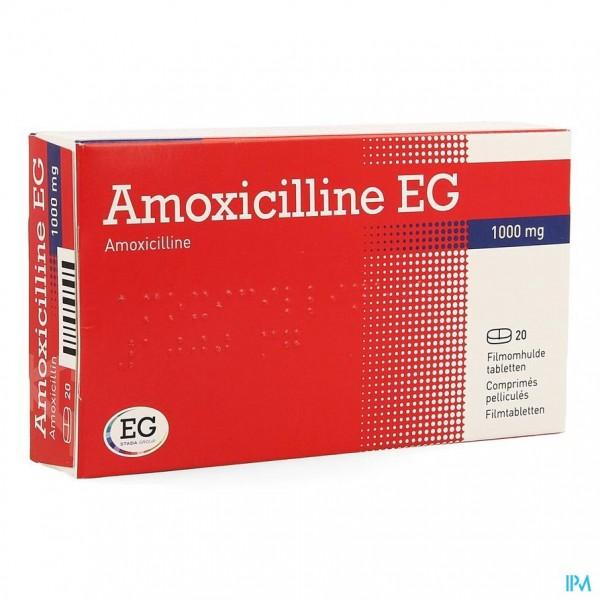 AMOXICILLINE EG COMP 20 X 1000 MG