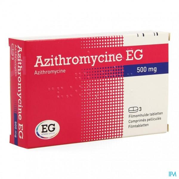 AZITHROMYCINE 500 MG EG TABL OMHULDE 3X500 MG