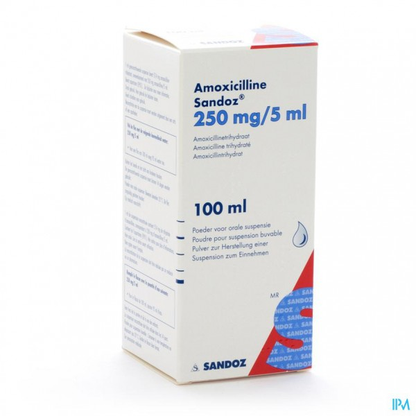 Amoxicilline Sandoz 250mg/5ml Pulv Susp Or 100ml