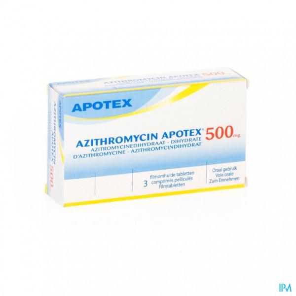 AZITHROMYCIN 500 MG APOTEX TABL OMHULDE 3X500 MG