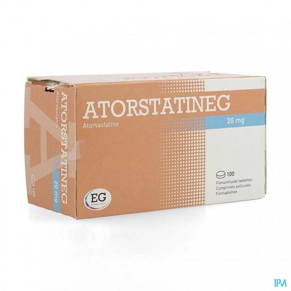 ATORVASTATINE EUROGENERICS 20MG FILMOMH TABL 100