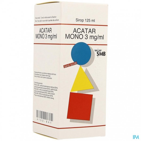 ACATAR MONO 3MG/ML SIROOP 125ML