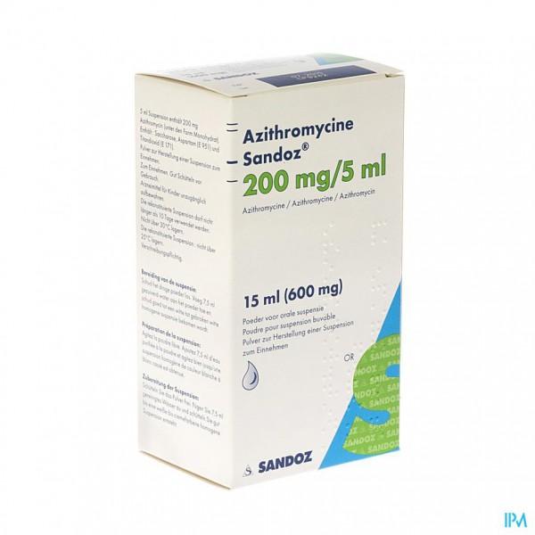 AZITHROMYCINE SANDOZ 200MG/5ML PULV SUSP OR 15,0ML