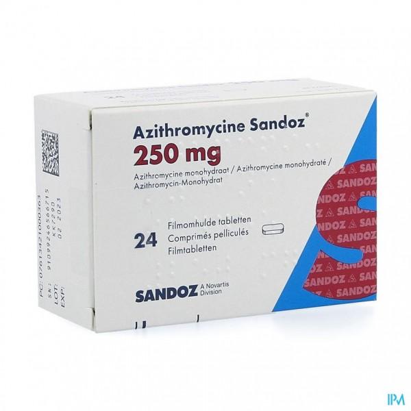 AZITHROMYCINE 250 MG SANDOZ TABL FILMOMH 24X250 MG