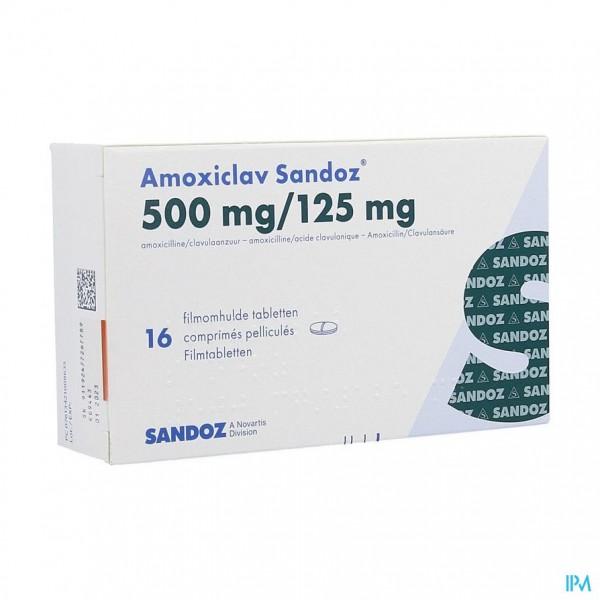 AMOXICLAV SANDOZ 500/125 MG COMP 16