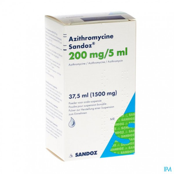 AZITHROMYCINE SANDOZ 200MG/5ML PULV SUSP OR 37,5ML