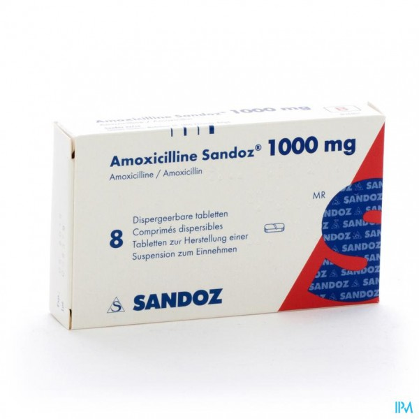 AMOXICILLINE SANDOZ 1000 MG TABL DISP 8
