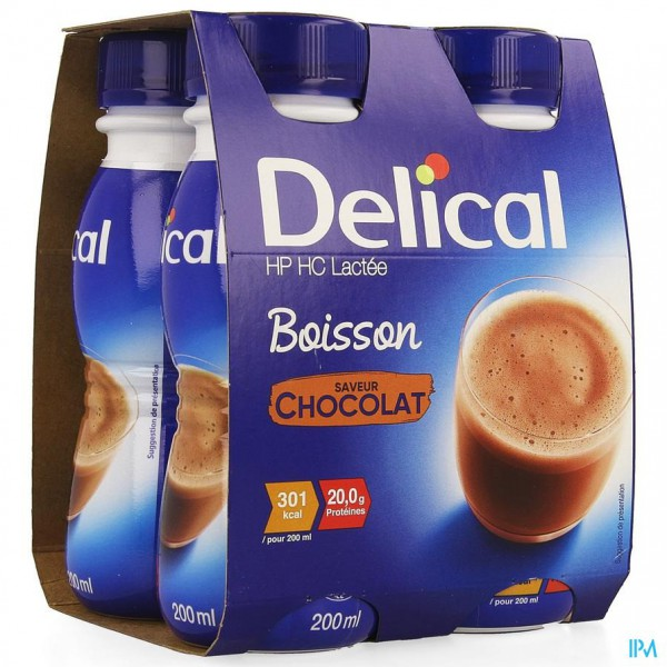 DELICAL MELKDRANK HP-HC CHOCOLADE 4X200ML